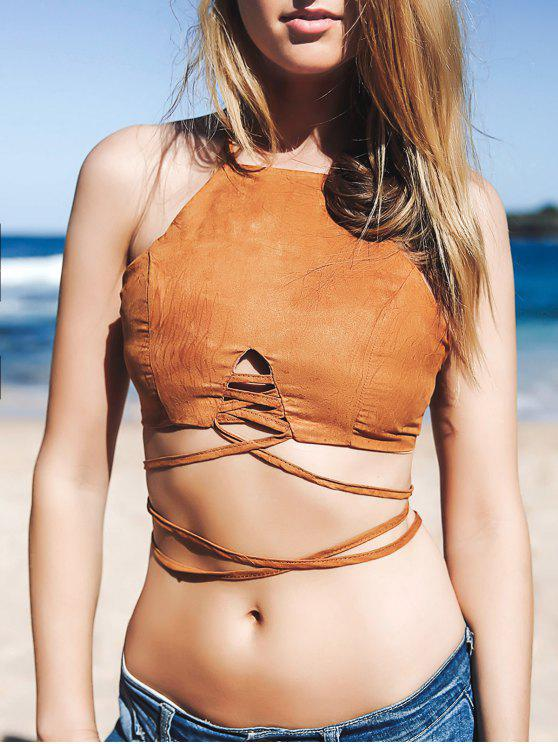 Cami Lace Up Crop Top - Castanho M