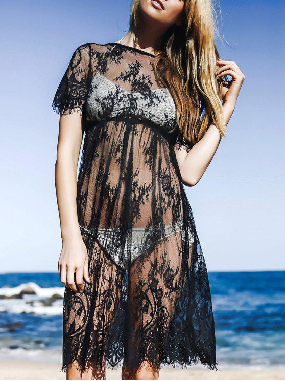 lady See-Through Round Neck Short Sleeve Lace Dress - BLACK L