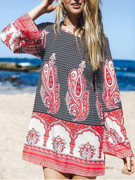 affordable Flare Sleeve Printed Tunic Dress - COLORMIX L