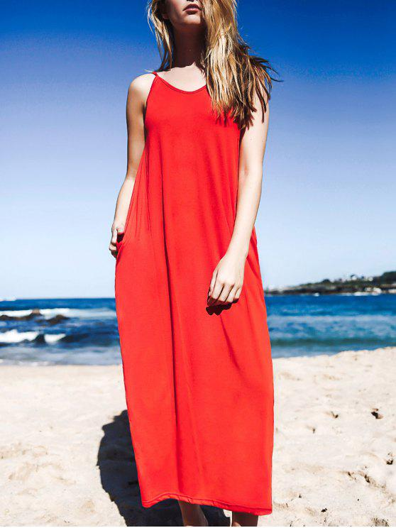 Maxi Vestido de Chaleco Holgado con Bolsillos - Rojo L