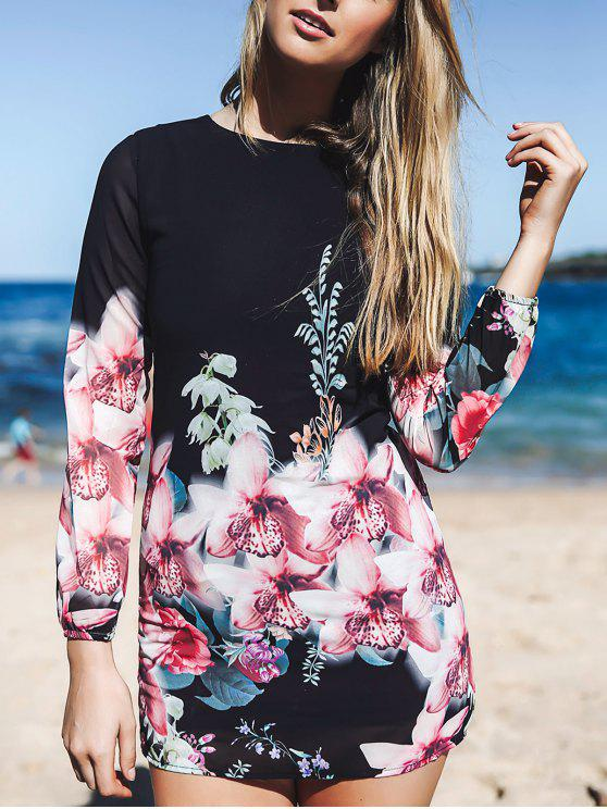 fashion Printed Chiffon Long Sleeves Round Collar Dress - BLACK L