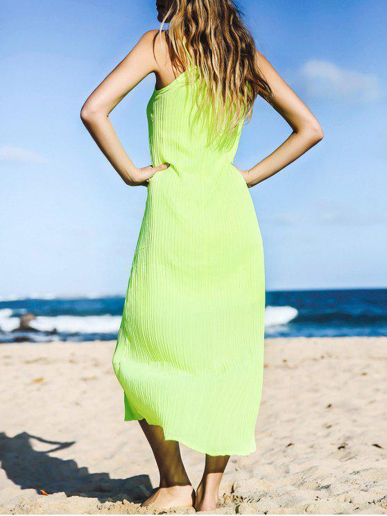 فستان ماكسي بلا أكمام حزام السباغيتي بلون الصلبة عصري - نيون الخضراء واحد الحجم (حجم صالح XS إلى M)