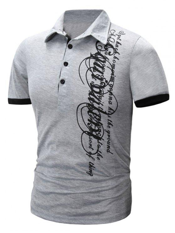 Trendy Turn-Down-Kragen Letter Print Men  's Kurzarm Polo-T-Shirt - Hellgrau L