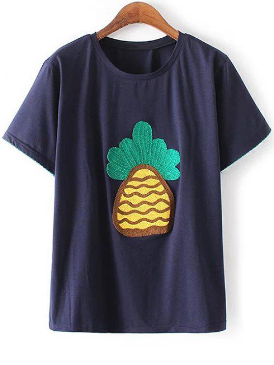 Piña camiseta bordada - Azul Marino  M