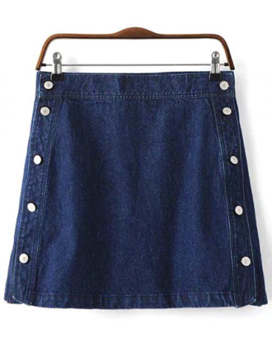 Bouton Design Mini Jupe en denim - Bleu Foncé S