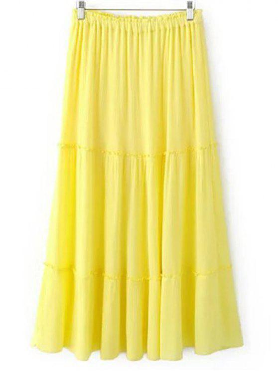 women's Crinkly Tiered Long Skirt - LIGHT YELLOW L