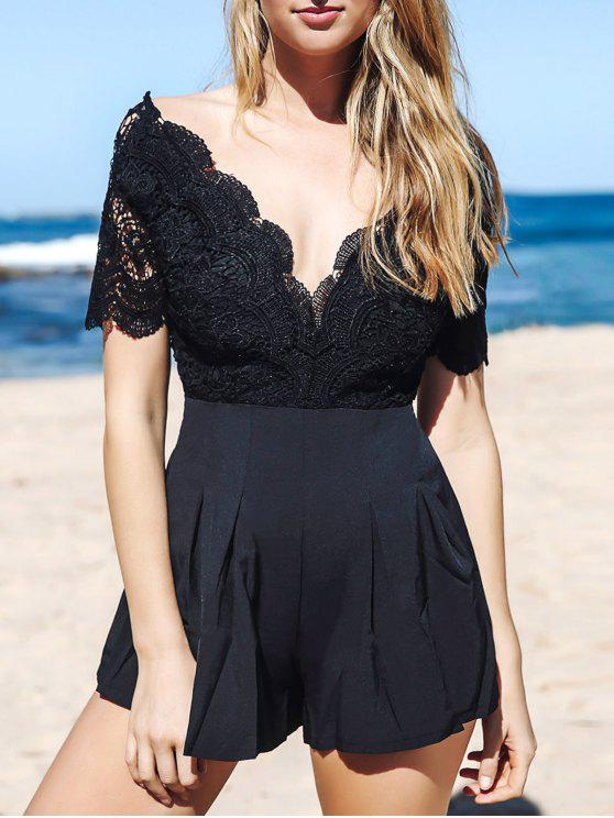 chic Lace Spliced Plunging Neck Open Back Playsuit - BLACK L
