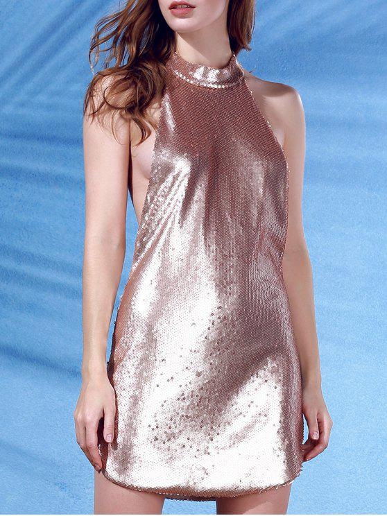 outfits Stand Neck Sleeveless Sequins Mini Dress - ROSE GOLD L