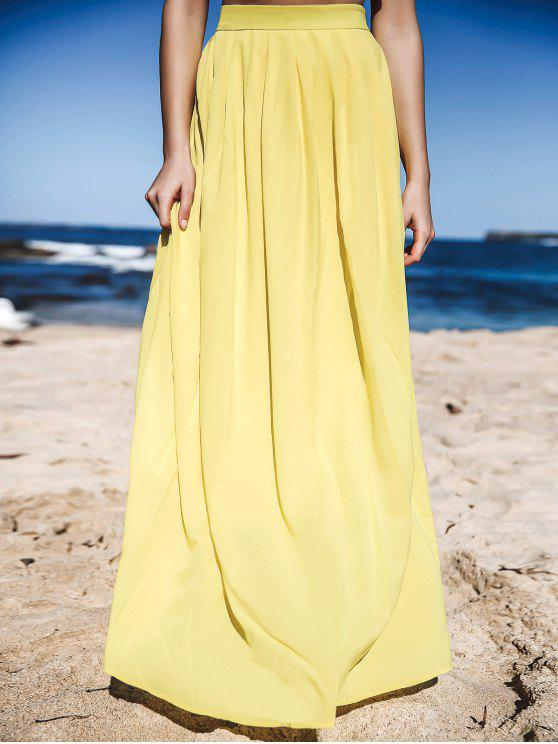 buy Yellow High Waisted Maxi Skirt - YELLOW L