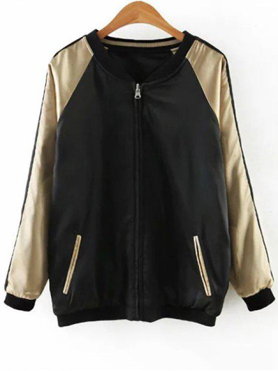 unique Embroidered Reversible Satin Bomber Jacket - BLACK AND GOLDEN M