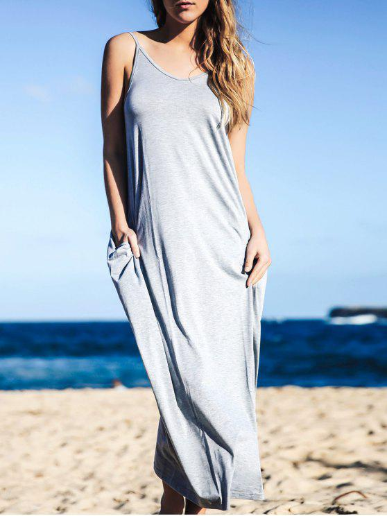 Pocket design Baggy style Maxi Dress - Gris XL