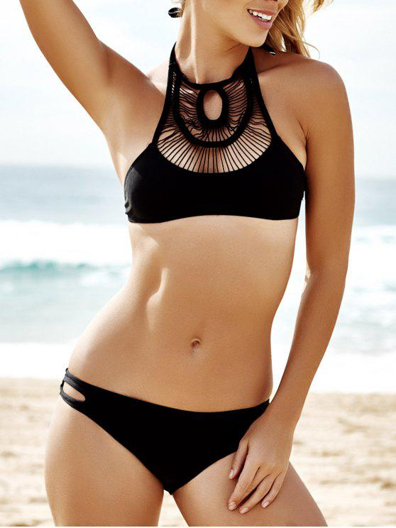 trendy Pure Color Hollow Out Bikini Set - BLACK S