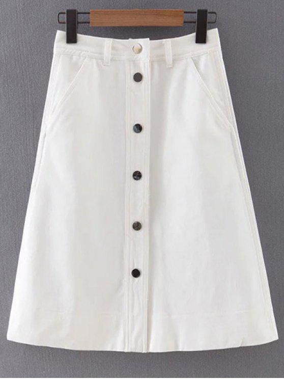 button front white denim skirt white skirts m zaful