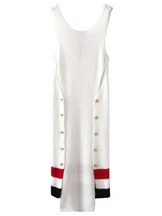fashion Button Design Irregular Sweater Dress - WHITE S