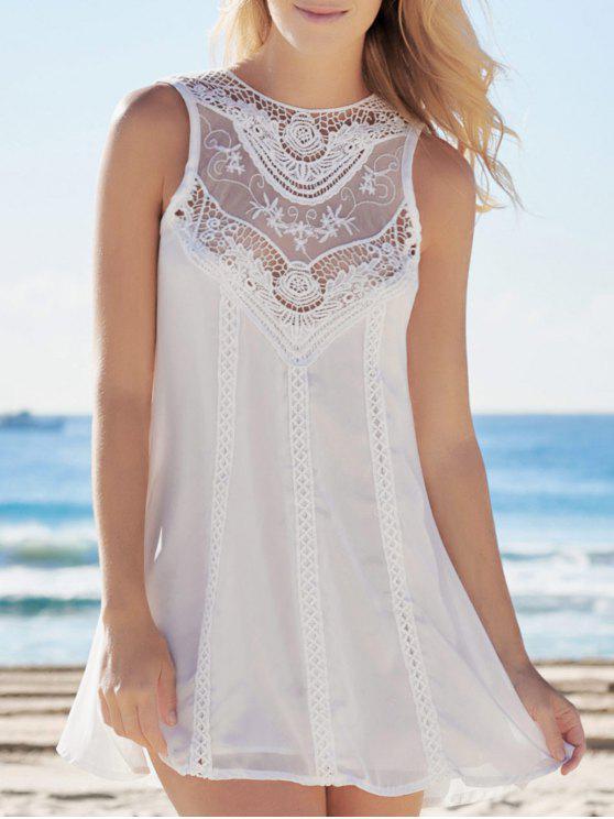Empalmado ahueca hacia fuera el vestido blanco de gasa - Blanco XL