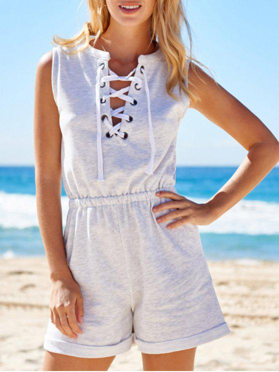 trendy Sleeveless Lace-Up Playsuit - LIGHT GRAY M