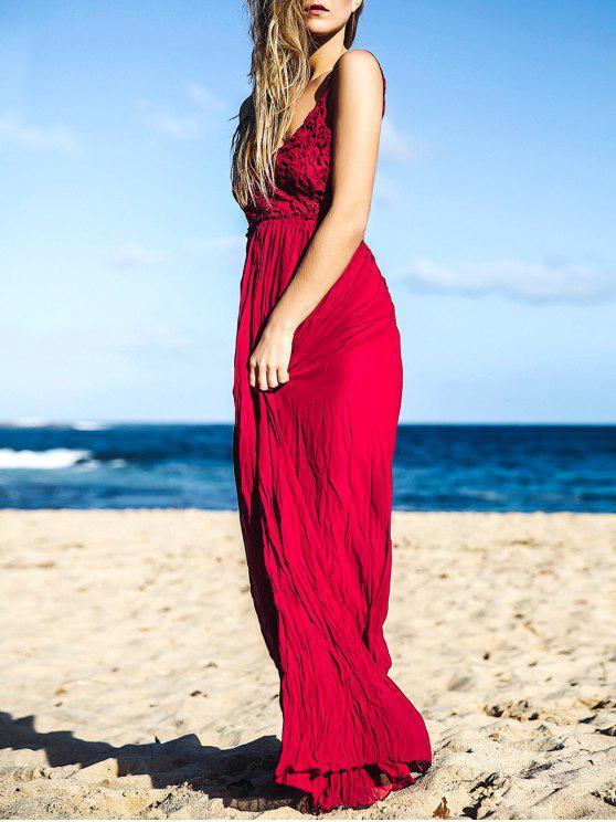 2019 Lace Bodice Open Back Maxi Dress In Wine Red M Zaful
