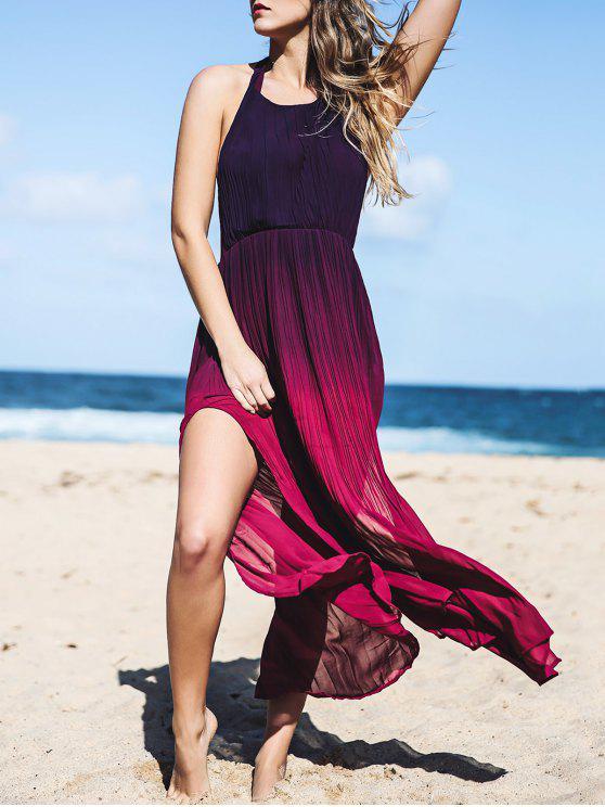 Resultado de imagem para Halterneck Ombre Color High Slit Maxi Dress