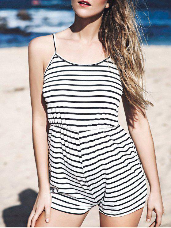 fancy Stripes Spaghetti Straps Romper - STRIPE M