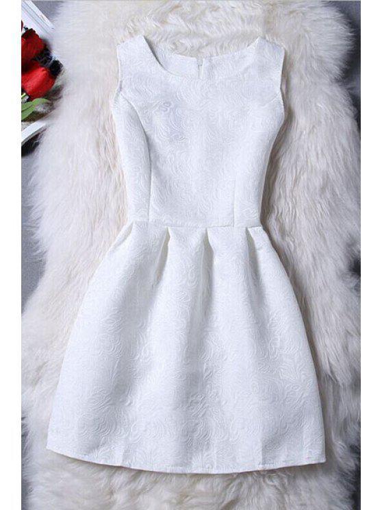 Mini-robe jacquard sans manches - Blanc S