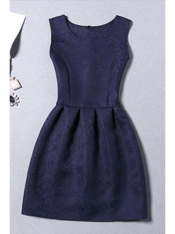 fancy Sleeveless Jacquard Mini Dress - PURPLISH BLUE L