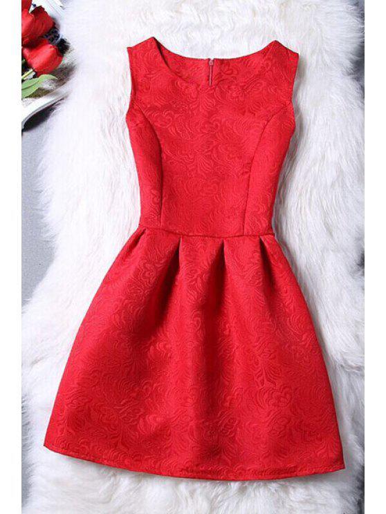 shop Sleeveless Jacquard Mini Dress - RED S