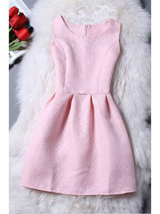 outfit Sleeveless Jacquard Mini Dress - PINK L