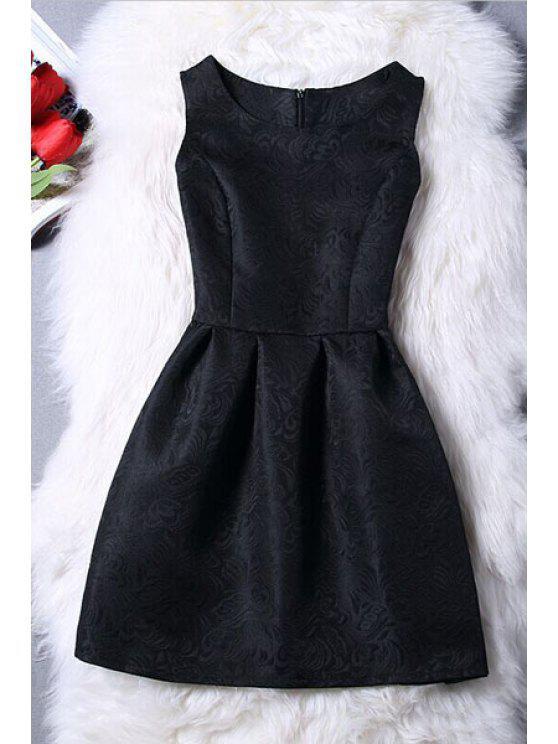 Mini-robe jacquard sans manches - Noir XL