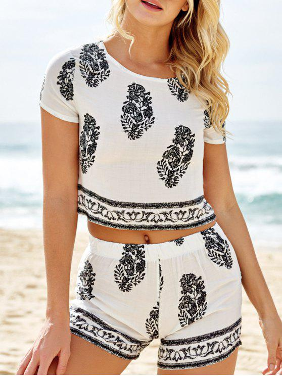 womens Short Sleeve Crop Top and Leaf Print Shorts Suit - WHITE S