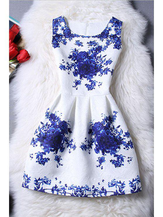chic Sleeveless Blue Rose Dress - BLUE AND WHITE XL