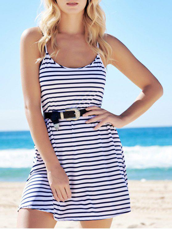 outfits Spaghetti Strap A-Line Striped Dress - BLUE AND WHITE S