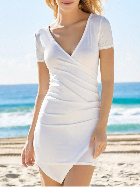 affordable Solid Color Plunging Neck Bodycon Dress - WHITE S