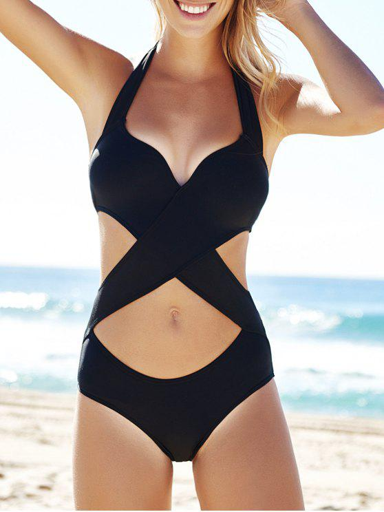 chic Cutout Black Bandage One-Piece Swimwear - BLACK L