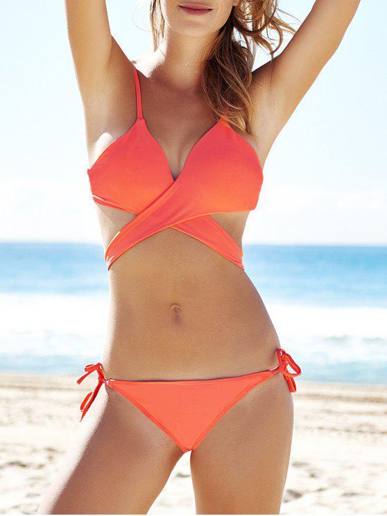 sexy solid color crossed bikini set orange bikinis m zaful. Black Bedroom Furniture Sets. Home Design Ideas