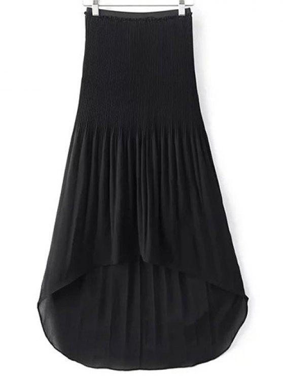 new Hi-Lo Pleated Chiffon Skirt - BLACK L