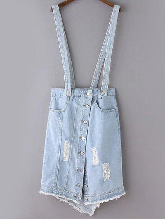 Rasgado falda de la liga del dril de algodón - Azul Claro L
