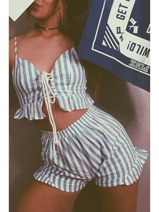 women's Cami Striped Crop Top and Wide Leg Shorts Suit - LIGHT BLUE L