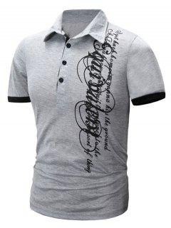 Trendy Turn-Down Collar Letter Print Men's Short Sleeve Polo T-Shirt - Light Gray L