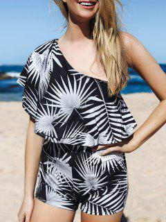 Printed One Shoulder Romper - White And Black Xl