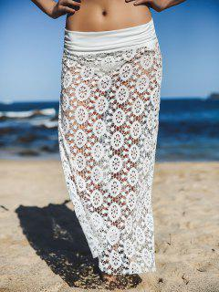 Solid Color Lace Cover Up Skirt - White M