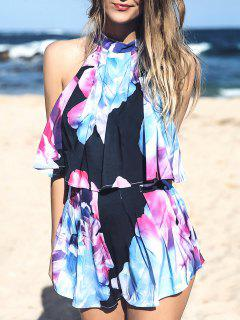 Flower Print Sleeveless Crop Top And Wide Leg Shorts Suit - L