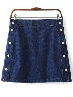 Button Design Mini Denim Skirt - Deep Blue S