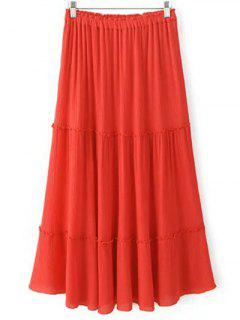 Crinkly Tiered Long Skirt - Red M
