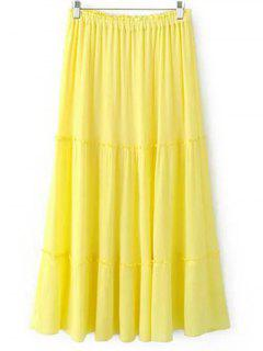 Crinkly Tiered Long Skirt - Light Yellow M