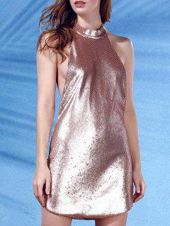 Stand Neck Sleeveless Sequins Mini Dress - Rose Gold L