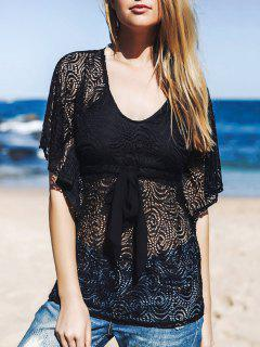 Lace Sheer Front Tie Cover Up - Black