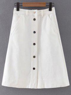 Button Front White Denim Skirt - White S