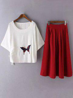 White Linen Top And Midi Skirt - Red S