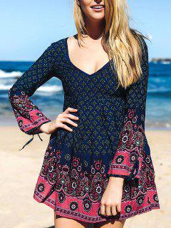 Floral 3/4 Sleeve Tunic Dress - Blue S