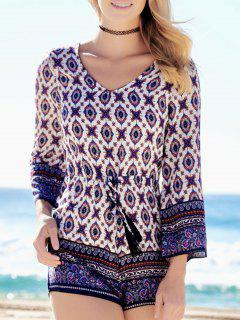 Ethnic Print Long Sleeve Romper - Xl